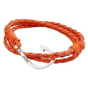 Jewelry - Orange Braided Leather Nautical Anchor Bracelet
